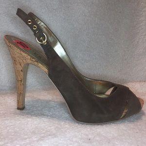 NWT Guess Suede Peep-Toe Grey Heels